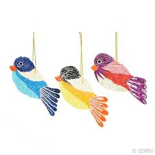 ornaments quilled birds ornament set