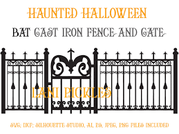haunted mansion svg spooky haunted halloween gate and fence with bat design svg