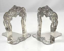 Engraved Bookends Antique Pair Of Sterling Silver Tiffany Book Ends With Pierced And