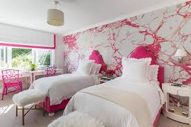Pink Girls Bedroom Wallpaper Accent Wall Eclectic U0027s Room Benjamin Dhong