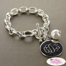 monogram bracelets monogrammed silver toggle bracelet for stacking in
