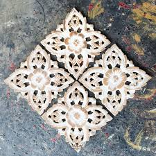 set of 4 decorative wood wall sculpture siam sawadee