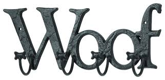 5 metal dog woof letters paw hooks foyer wall accent decor