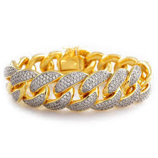 cuban link bracelet gold images 18k gold 3 row iced out cuban link bracelet niv 39 s bling jpg