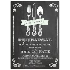 dinner invitation utensil chalkboard rehearsal dinner invitation paperstyle