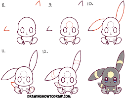 how to draw cute kawaii chibi umbreon from pokemon easy step by