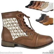 s boots with laces crochet ankle booties combat army laces