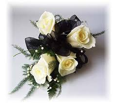 black and white corsage wrist corsage