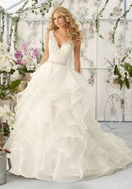 mori bridal lace appliqués on organza skirt wedding dress style 2805 morilee