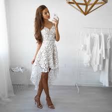 spaghetti straps hi lo lace formal dress v neck white 2017 cheap