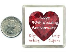 what is 40th wedding anniversary lucky sixpence coin ruby 40th wedding anniversary gift great