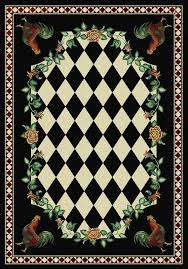Rooster Area Rug American Dakota Novelty High Country Rooster Black Area Rug
