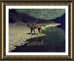 wolf home decor framed poster moonlight wolf frederic remington for home decor
