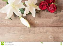 Wedding Gift Card Floral Frame With Stunning White Lilies And Red Roses On Wooden