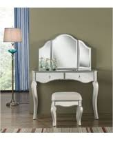 Silver Vanity Chair Holiday Special Linon Angelica Glass Top Metal Grey Vanity