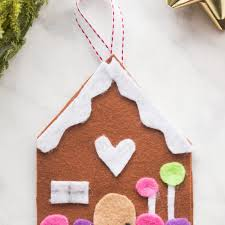 diy felt gingerbread house tree ornament craft for