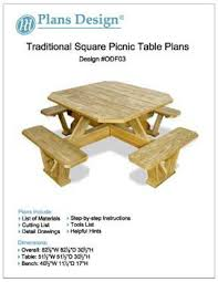 Free Picnic Table Plans 2x6 by Traditional Square Picnic Table Benches Woodworking Plans