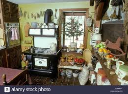 early american kitchen room fireplace tree ornaments antique black