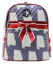 personalized crab anchor quilted kid s backpack pink navy
