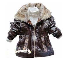 sopo baby boys pu leather winter jackets fake fur