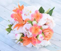 Plumerias Bouquet Of Silk Blush Pink Coral Peonies Plumerias And Roses