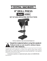 harbor freight tools 8 drill press 44506 user manual 20 pages