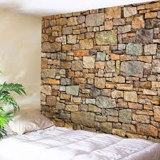 natural stone brick print wall hanging tapestry brown w inch l