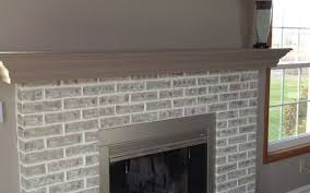 red white painted brick fireplace before and after stovers