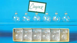 snowflake glass ornament place card holders pkg 6