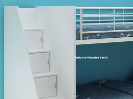 Staircase Bunk Bed Uk White Storage Bunk Beds Cameo Deluxe Staircase Bunk Bed In White