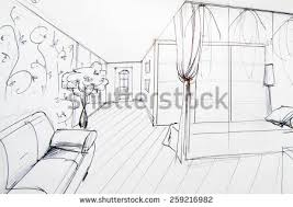 interior sketches interior sketches bedroom living room kitchen stock photo