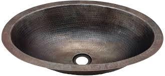 copper potter hammered oval vanity sink 15
