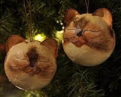 siamese fur pattern cat ornaments