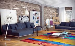 Modern Colorful Rugs Furniture Blue Sectional Sofa With Chaise And Colorful Rug