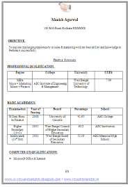 Templates Of Resumes Sample Template Of An Mba Finance And Marketing For Fresher And