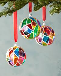 three mosaic glass ornaments