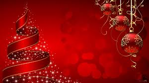 christmas tree and baubles wallpaper in red background free