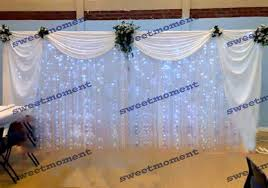 Sheer Draping Wedding 2 Pieces White Luxury Table Skirt With Drape For Wedding Table