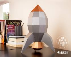 Desk Decor by Low Poly Papercraft Rocket Paper Rocket Desk Decor Paper Craft