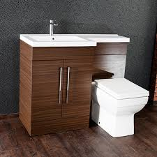 Bathroom Combined Vanity Units by Maze L Shaped Furniture Walnut Combo Vanity And W C Unit Left