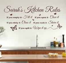 Wall Stickers For Kitchen by Personalised Kitchen Rules Quote Wall Art Sticker Decal Graphic