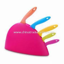 pink kitchen knives wholesale durable kitchen knife set with plastic holder comes in