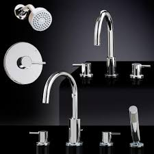 What Are Bathroom Sinks Made Of Rotunda Tub U0026 Shower Set 1 With Widespread Sink Faucet Bathroom