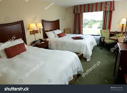 Hotel Beds Empty Hotel Motel Room Two Beds Stock Photo 84929785 Shutterstock