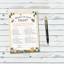what u0027s in your phone printable game woodland baby shower