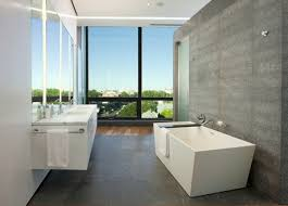 Cool Modern Bathrooms Bright High Mirror Above Floating Vanity Plus Chic Wallpaper In
