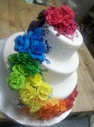 white round wedding cake destination wedding rainbow color flowers