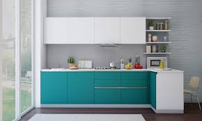 kitchen stylish kitchen design with l shape turquoise kitchen