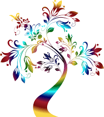 clipart colorful floral tree 3 variation 2