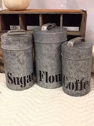 metal canisters kitchen galvanized metal canisters by ribbonwoodhome on etsy farmhouse